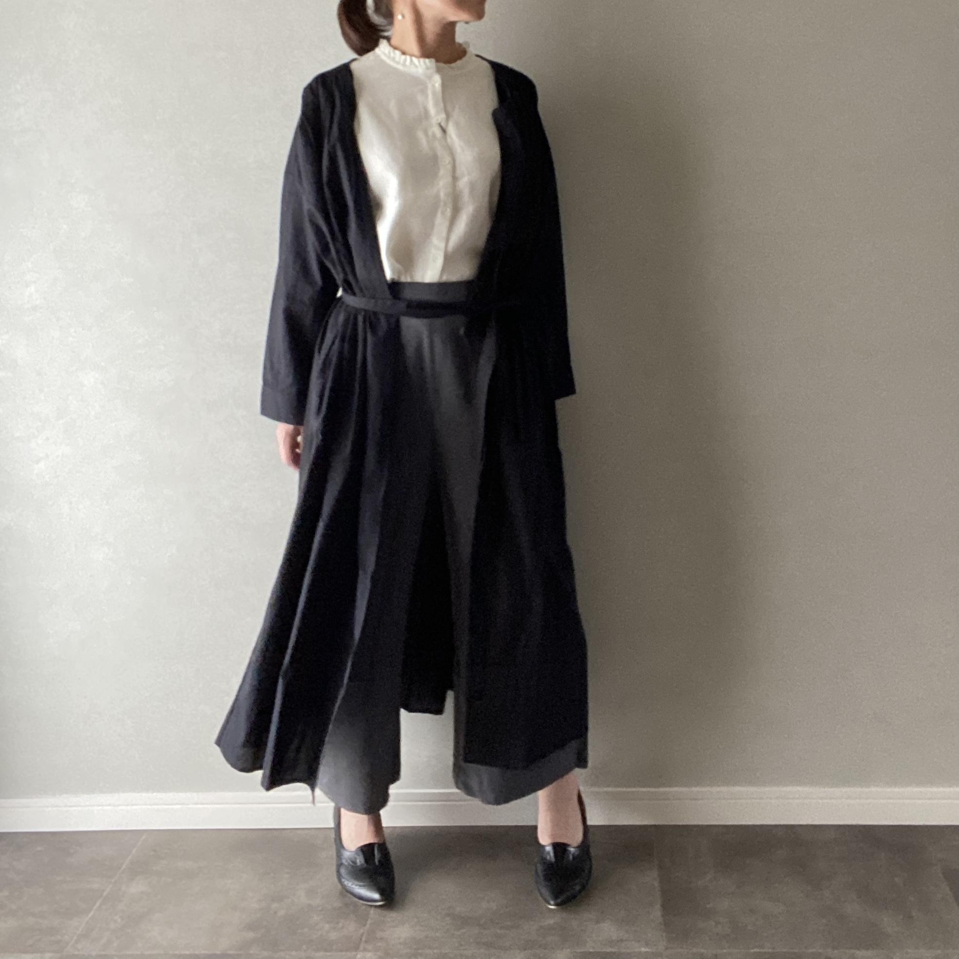 ワンピース&ロングカーデ 2way リボン付き 薄手 長袖 ブラック Mサイズ【12909106】