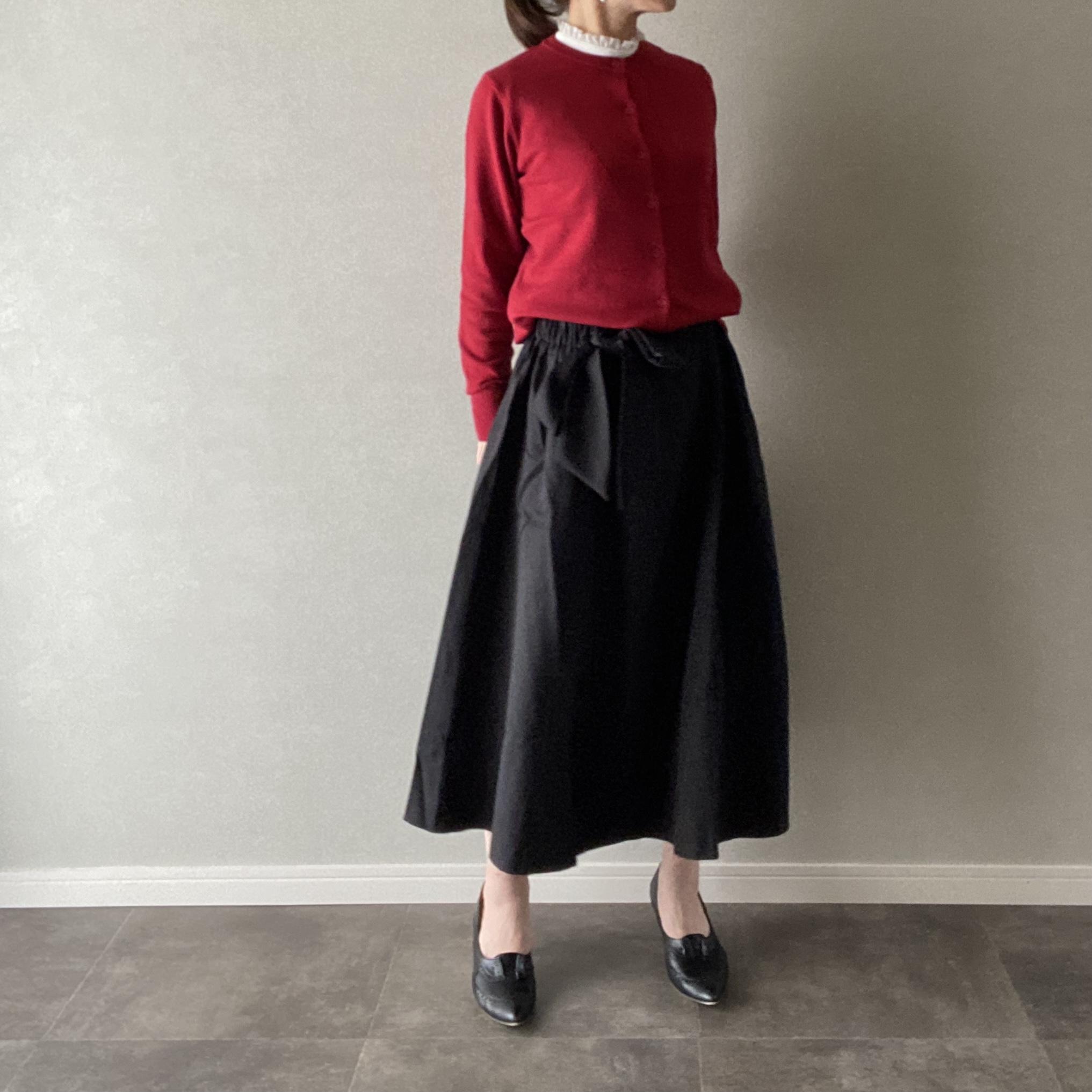 スカート フレア リボン付き ウエストゴム  ブラック Mサイズ【12909107】