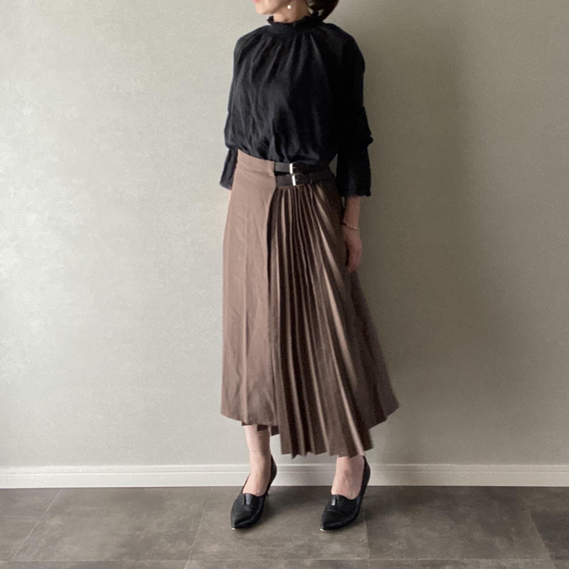 キレイめ☆ スカート プリーツ ベルト Aライン ブラウン Mサイズ【12900103】