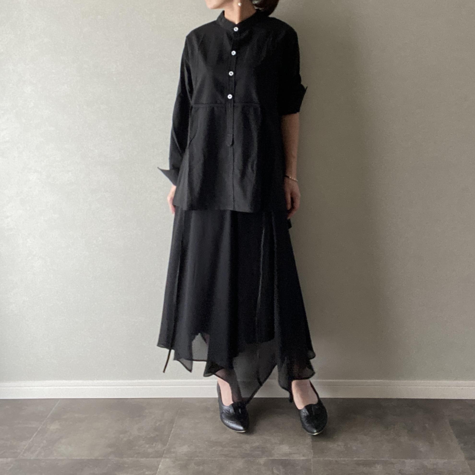 シャツ ブラウス アシンメトリー ウエストリボン 長袖 ブラック   フリーサイズ【12900105】