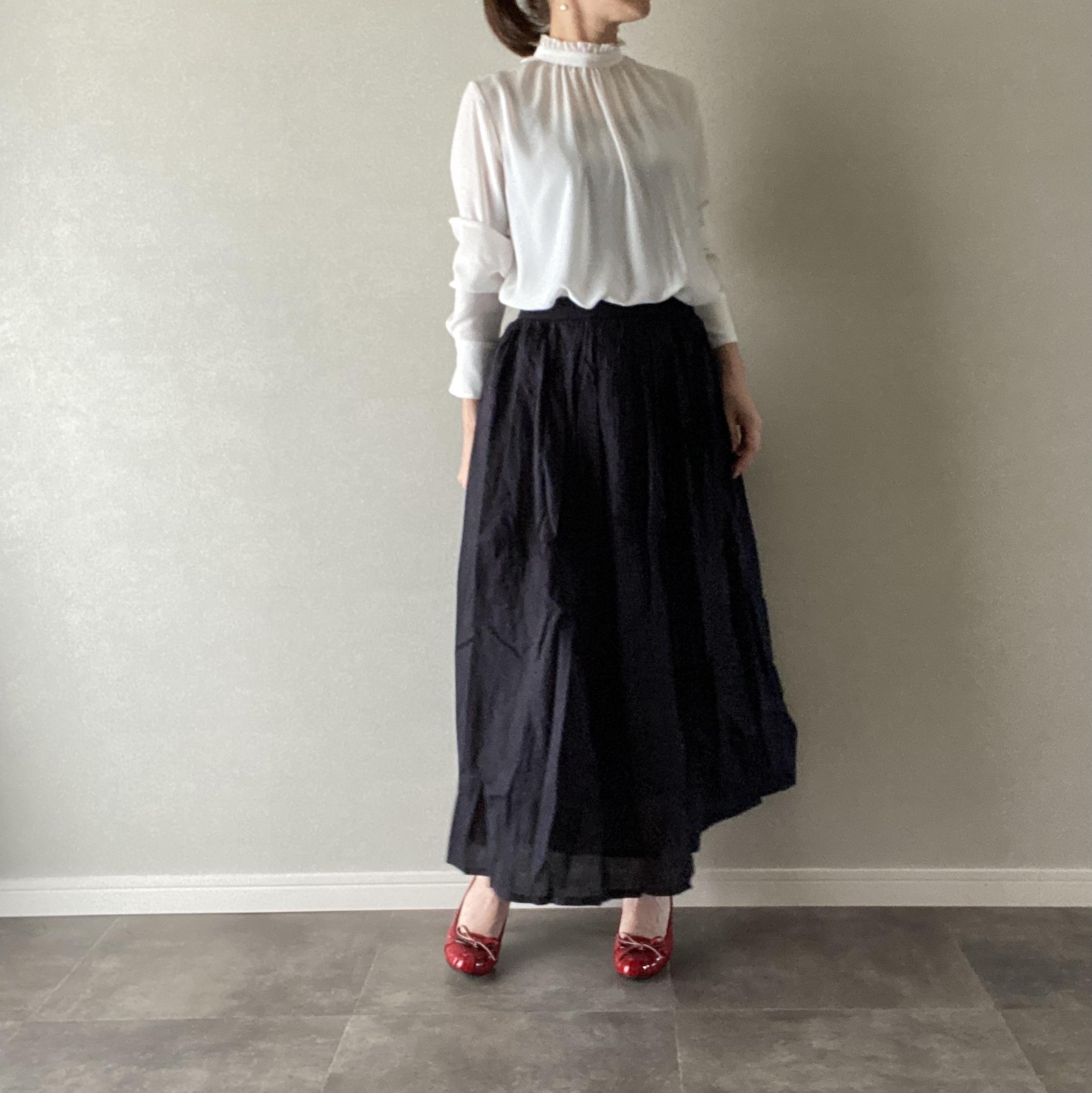 ロングスカート ギャザー ふんわり ウエストゴム ブラック M〜Lサイズ【12013006】